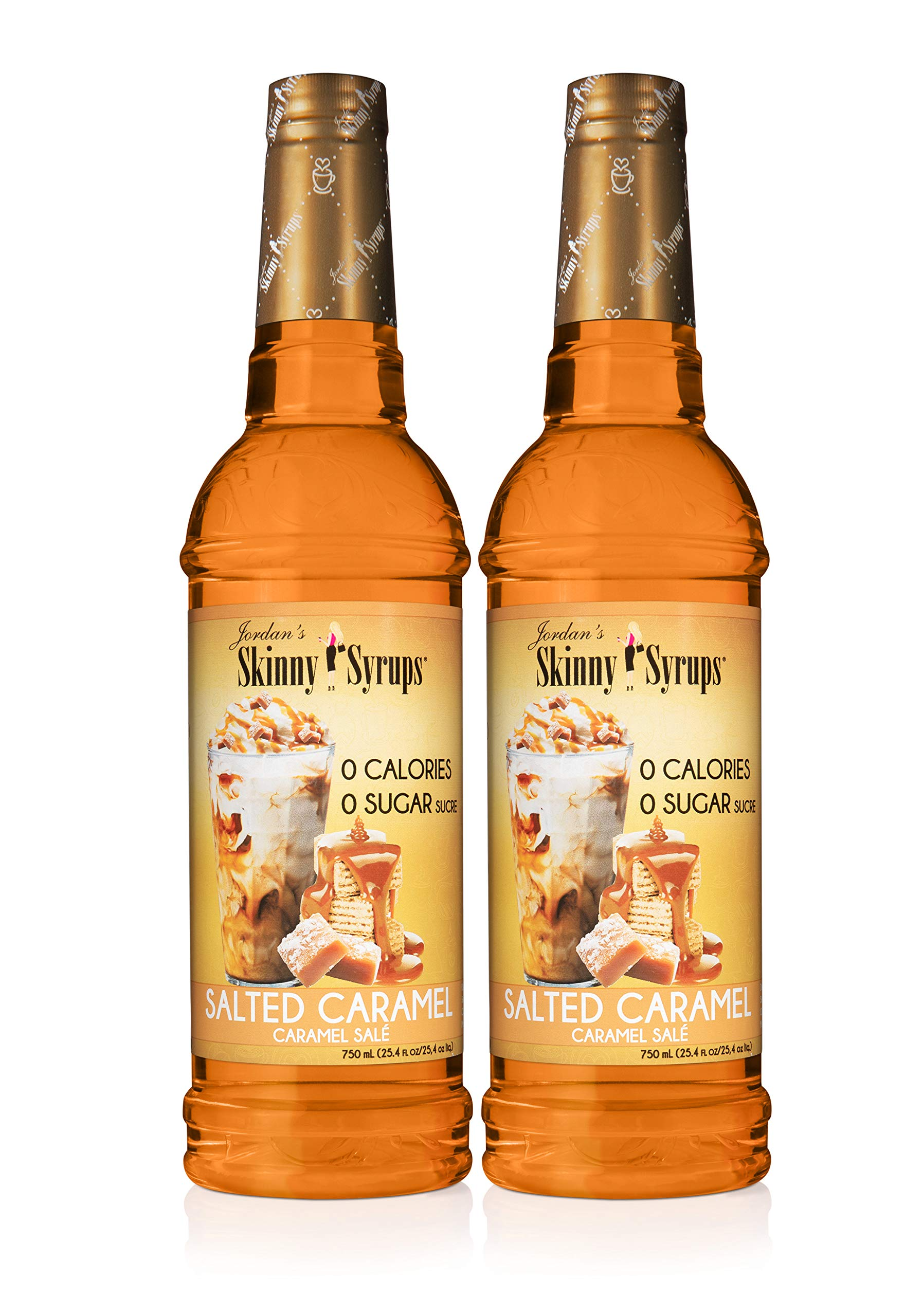 Jordan's Skinny Syrups Salted Caramel, Sugar Free Flavoring Syrup, 25.4 Ounce Bottle (Pack of 2)