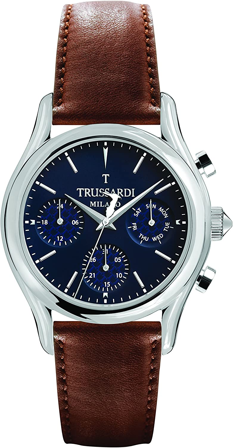 B07BFG57R9 TRUSSARDI Men's T-Light Stainless Steel Analog-Quartz Leather Strap, Brown, 16 Casual Watch (Model: R2451127002) 81kxAVES2bL.UL1500_