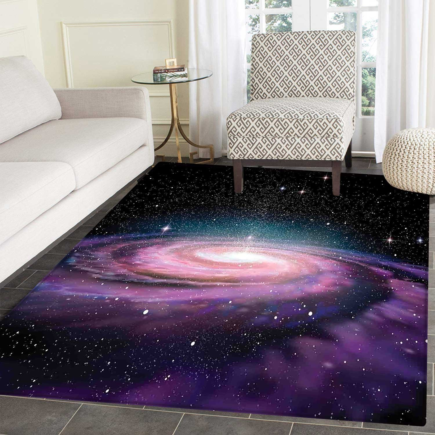Galaxy Mat Kid Carpet Spiral Galaxy in Outer Space Andromeda Nebula Star Dust Universe Astronomy Print Home Decor Foor Carpe 3'x4' Mauve Black