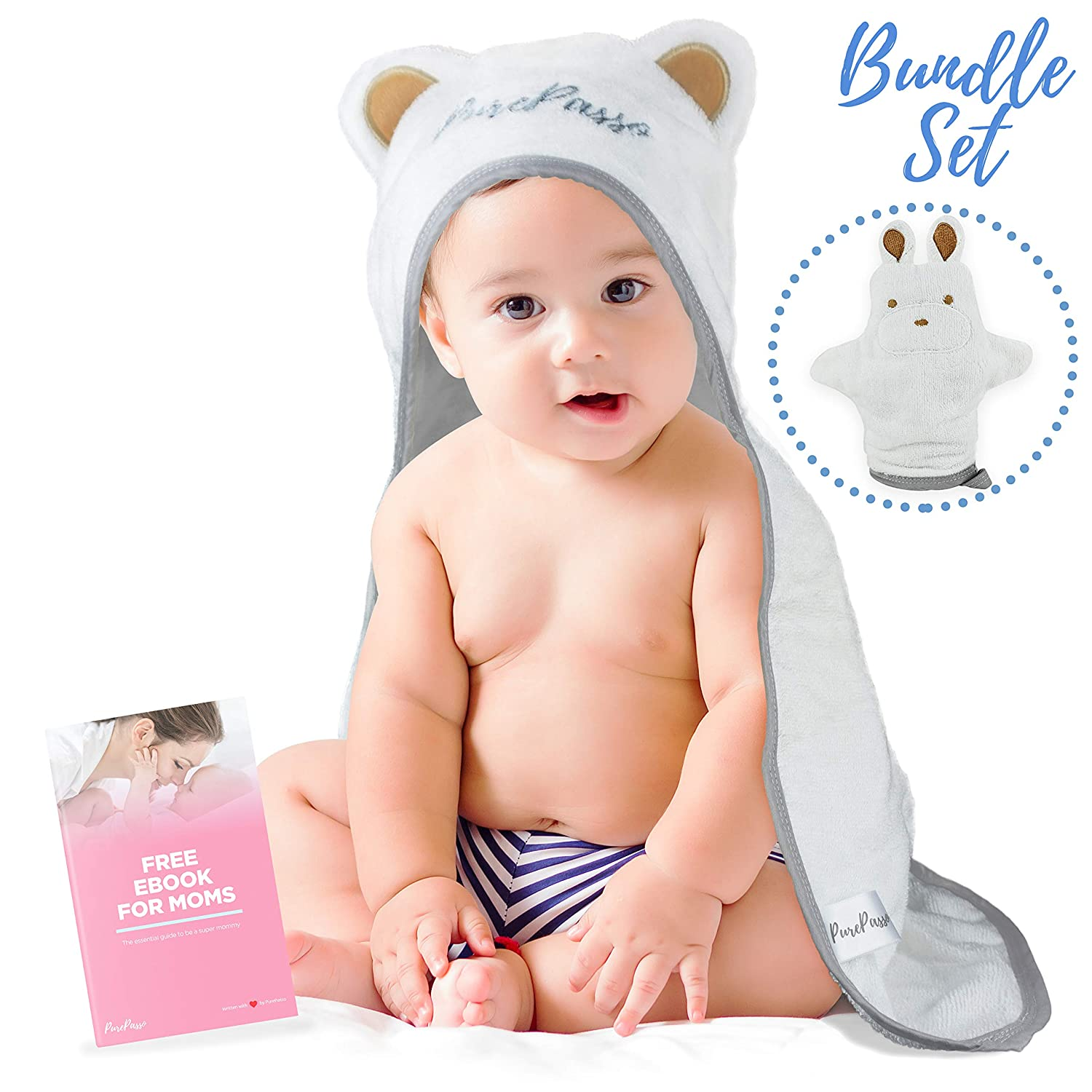 Soft Organic Bamboo Hooded Towel for Babies and Toddlers with Washcloth Glove & Ebook Set - Super Cozy, Plush, Carefully Designed with the best Bath Time experience in mind By QueBébé PurePasso QueBébé