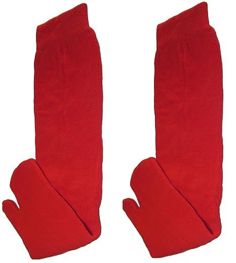 Calcetines Tabi Ninja Japonés Rojo (Adulto): Amazon.es ...