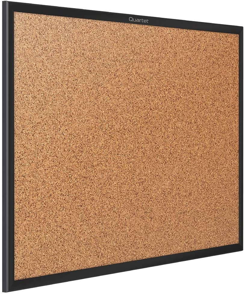 Quartet Cork Board, Bulletin Board, 2' x 1.5' Corkboard, Black Frame (2301B)