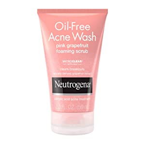 Neutrogena Oil free pink grapefruit acne face wash with vitamin c, salicylic acid acne treatment medicine, gentle foaming vitamin c facial scrub to treat and prevent breakouts, 2.0 Fl Oz (Pack of 24)