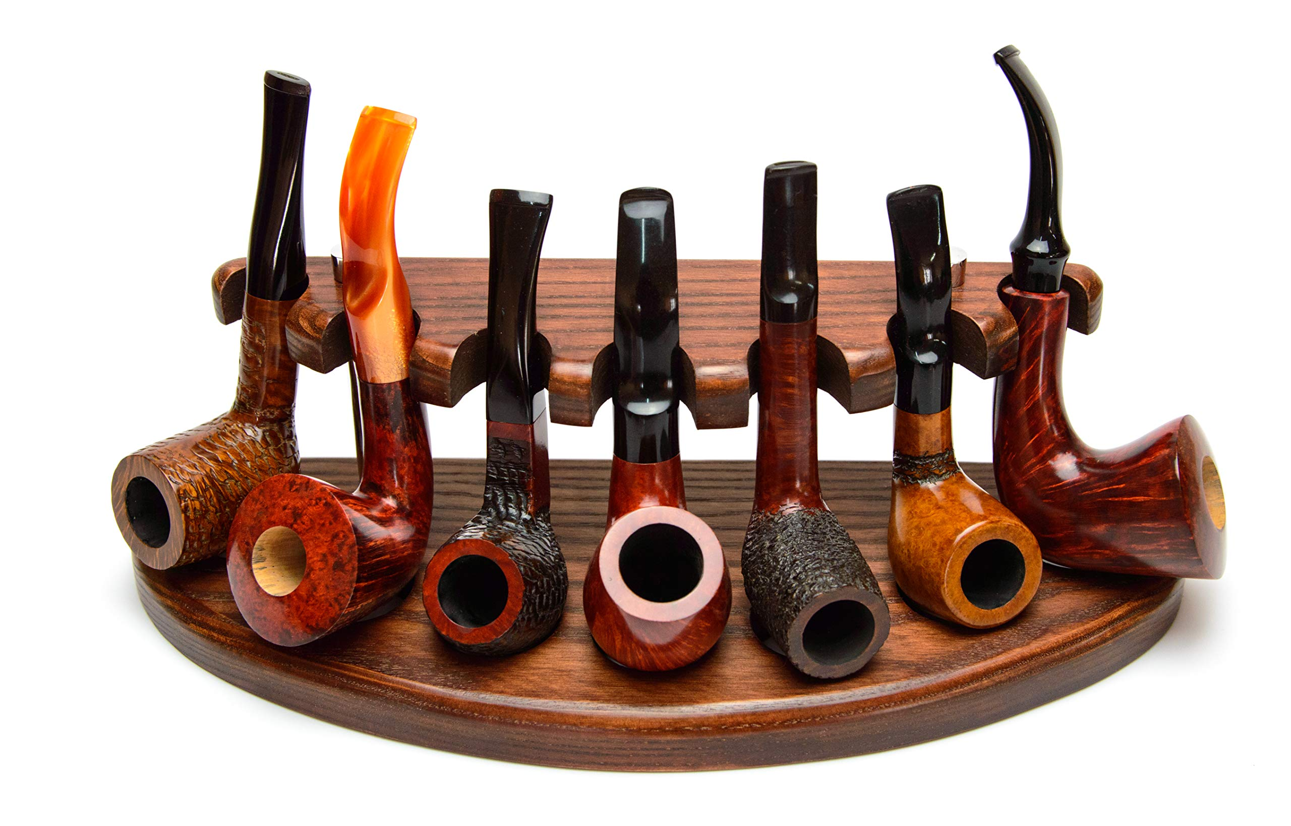 Wooden Tobacco Pipe Stand Rack Display Holder for 7 Smoking Pipes from Solid Ash Tree Wood Hand Carved by KAFpipeWorkshop by KAFpipeWorkshop