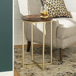 WE Furniture AZF16ALSTDWG Wood Side Table, Dark Walnut/Gold