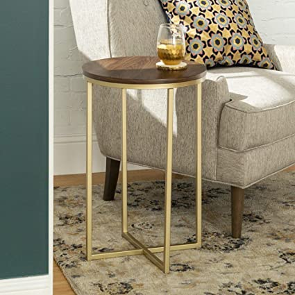 Amazoncom We Furniture Azf16alstdwg Wood Side Table Dark Walnut