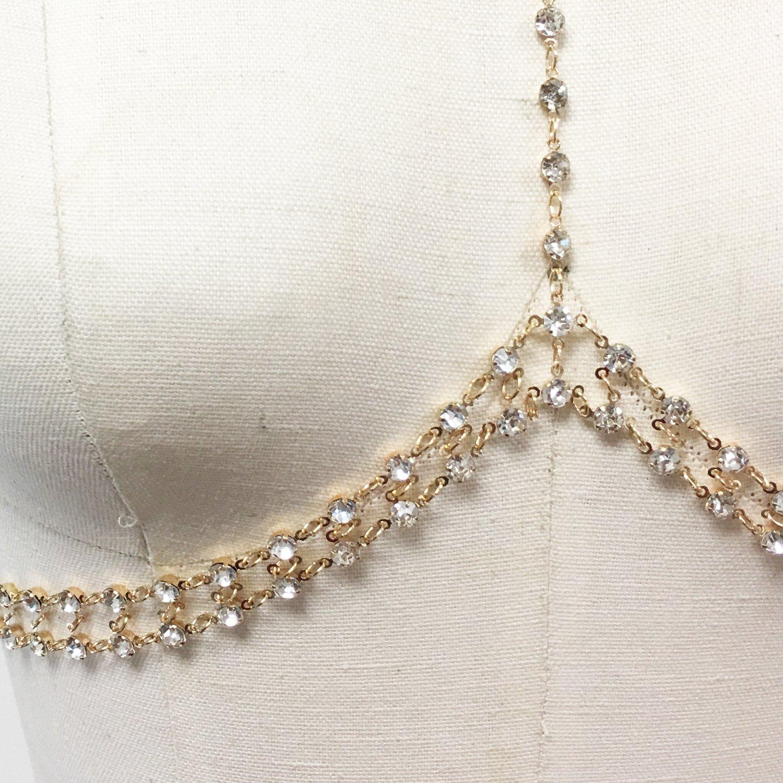 8851ae56d2d41d Amazon.com  Boho rhinestone halter choker bra bralette bikini chain  Jewelry