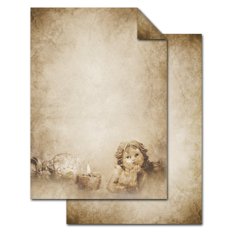 '25feuilles de papier ancien vintage Motif Ange comme papier à lettres de Noël de qualité–Carte, carte Menu Invitation à lave-vaisselle.–DIN A4, 100g, imprimé des deux côtés Jeanette Dietl