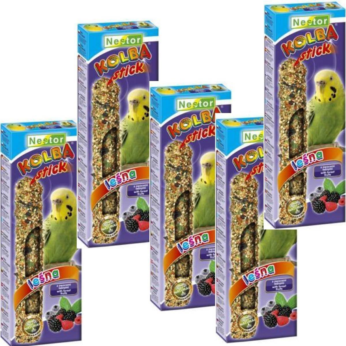 NESTOR pájaro Forro Periquito Con Bosque fruta 5Paquetes akku-knabber Sticks pistón
