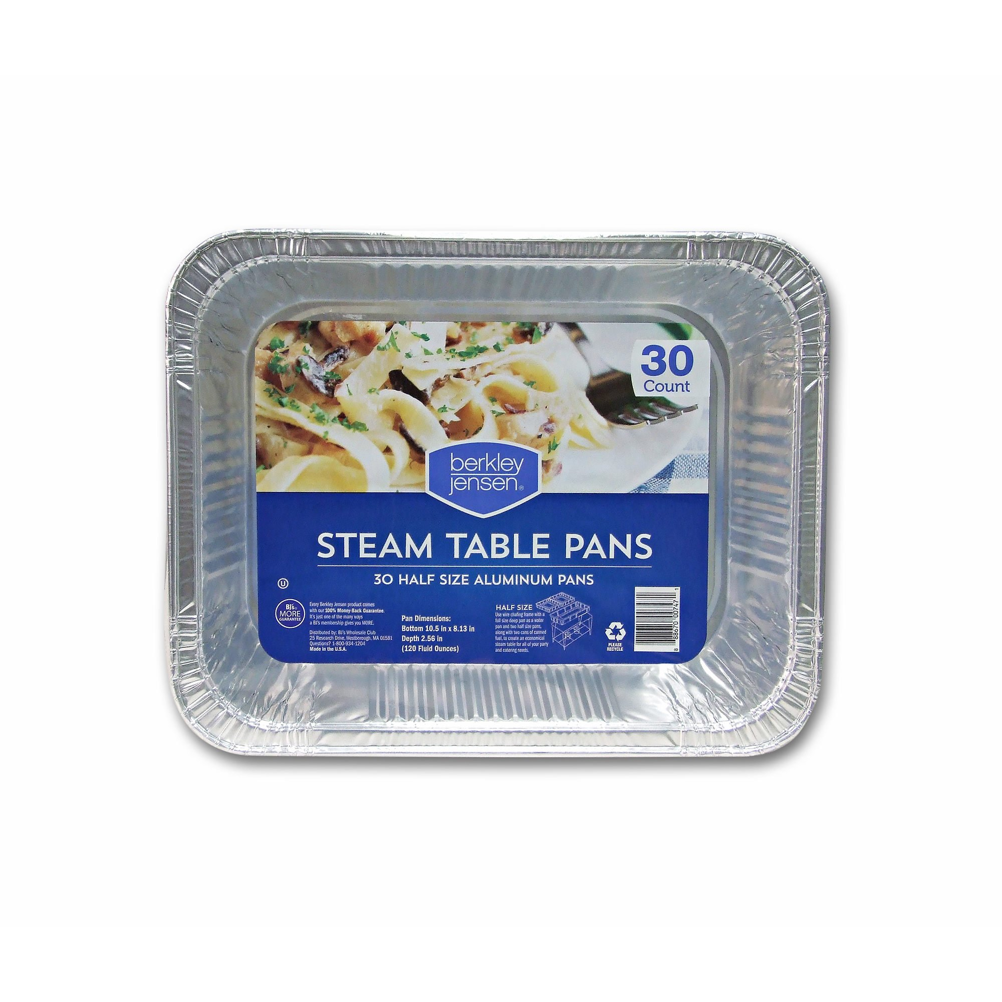 Berkley Jensen Half-Size Steam Table Pans, 30 Count
