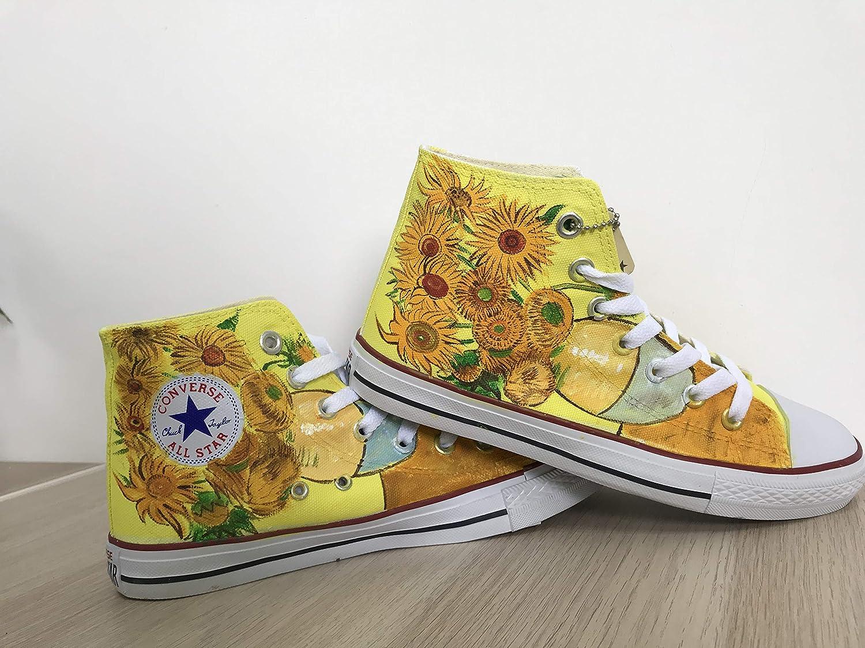 df4d06f45a20f6 Amazon.com  Hand Painted Shoes Vincent Van Gogh Sunflowers Hi Top Shoes  Custom Chuck Taylors Men Women FREE SHPPING  Handmade