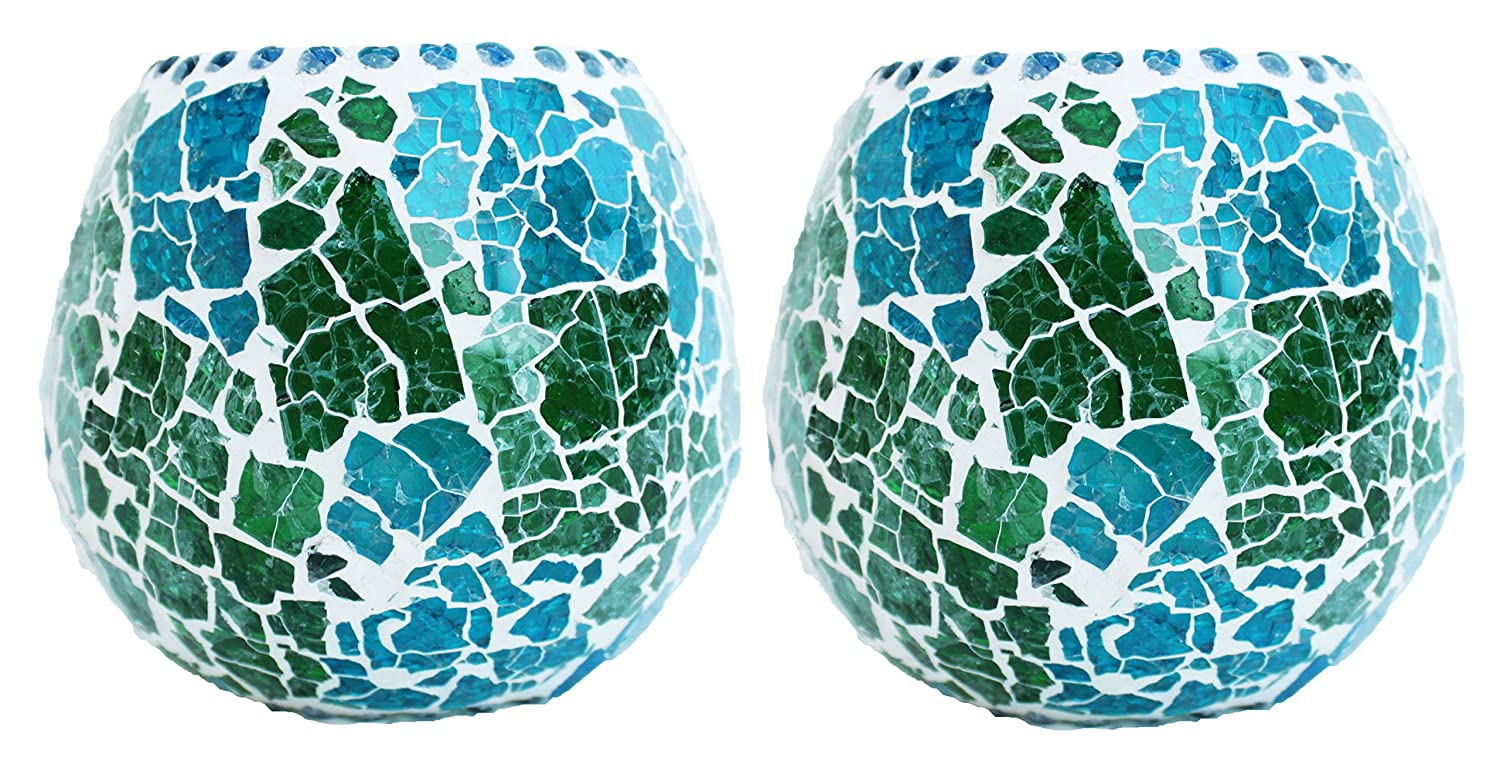 racked Mosaic Glass Tealight Candle Holder – Set of 2