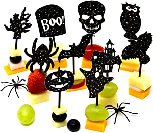 Youngever 200 Halloween Party Decorations - Halloween Party Supplies - 160 Halloween Cupcake Toppers Halloween Picks - 40 Halloween Napkins
