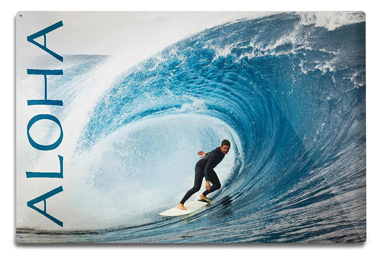 サーファーでPerfect Wave – Aloha 12 x 18 Metal Sign LANT-73344-12x18M 12 x 18 Metal Sign  B06Y1LVK2Q