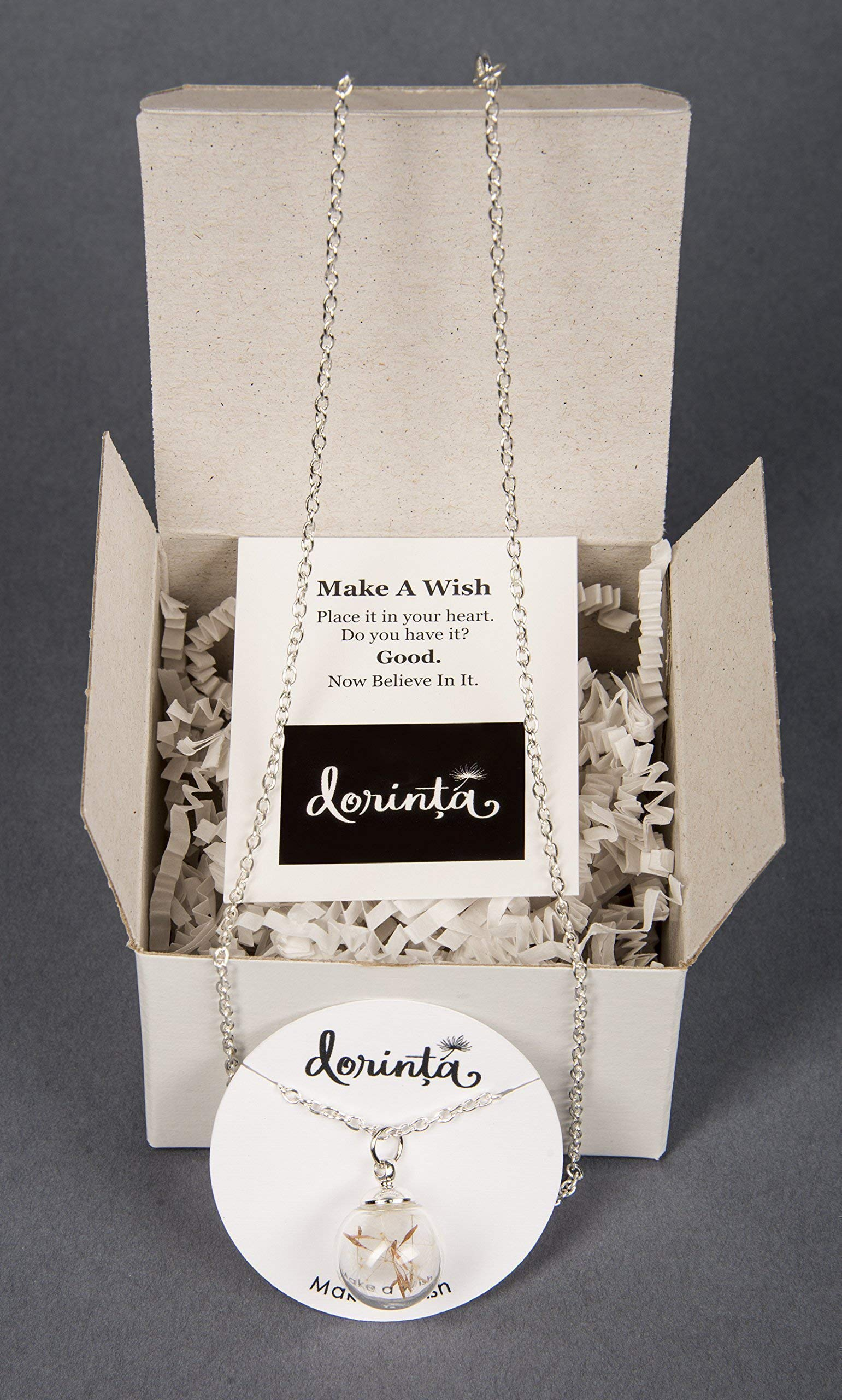 Remember Making a Wish on a Dandelion? Seed Wishes in Hand Blown Glass Pendant Wish Necklace. Gift box and Quote. Best Friends Daughters Sisters Military Brats Moms by Dorinta