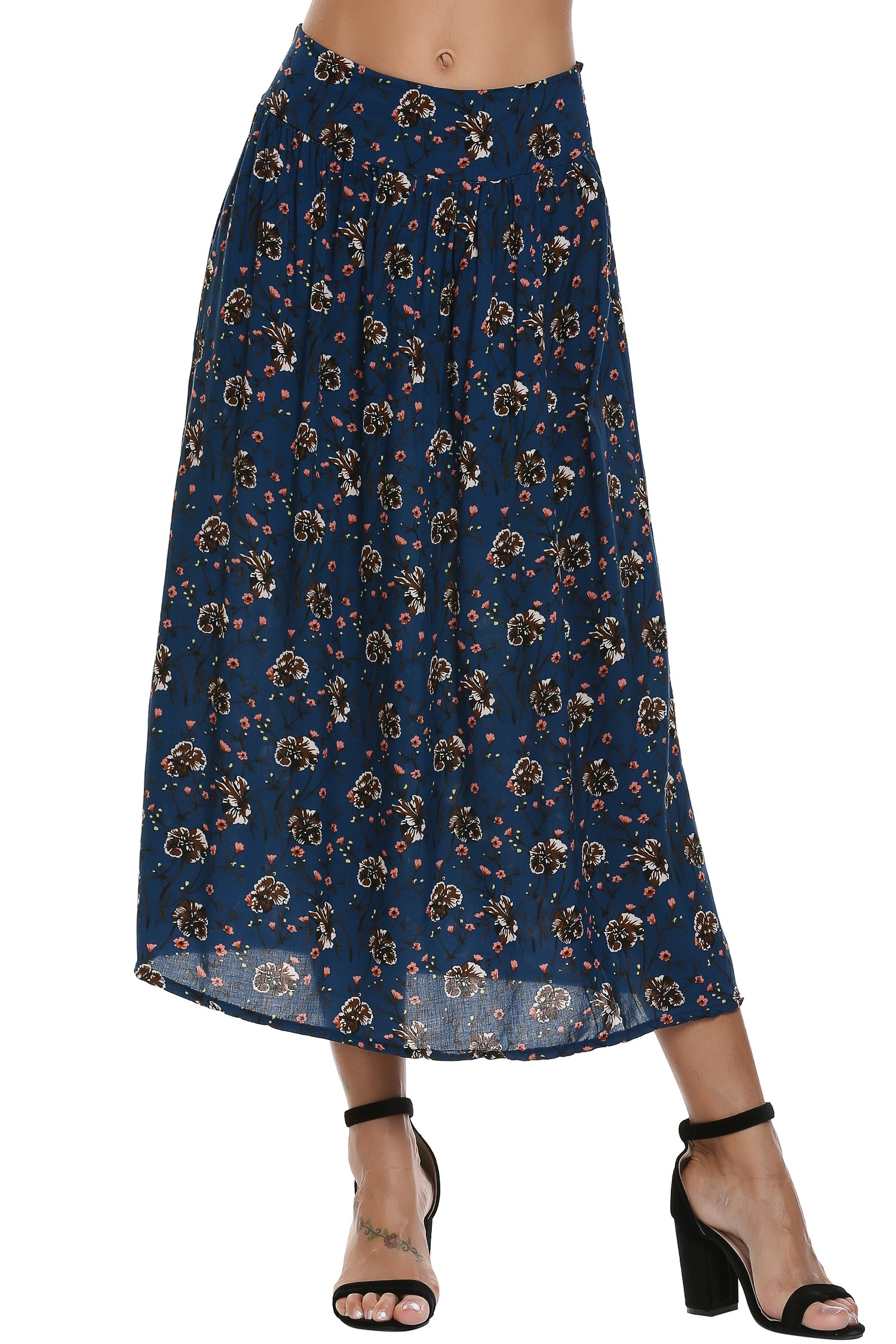 Zeagoo Women's Fashion Solid Color Flowy Split Long Maxi Skirt,Blue,Medium