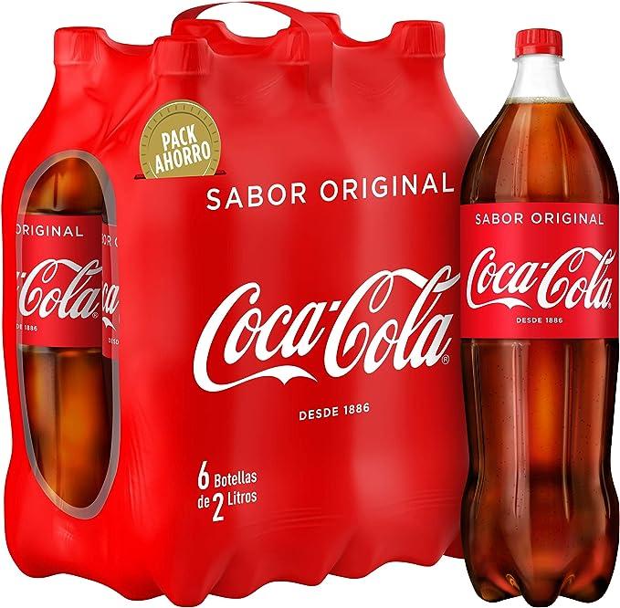Coca-Cola Bebida Refrescante Aromatizada - 6 Botellas x 2000 ml ...