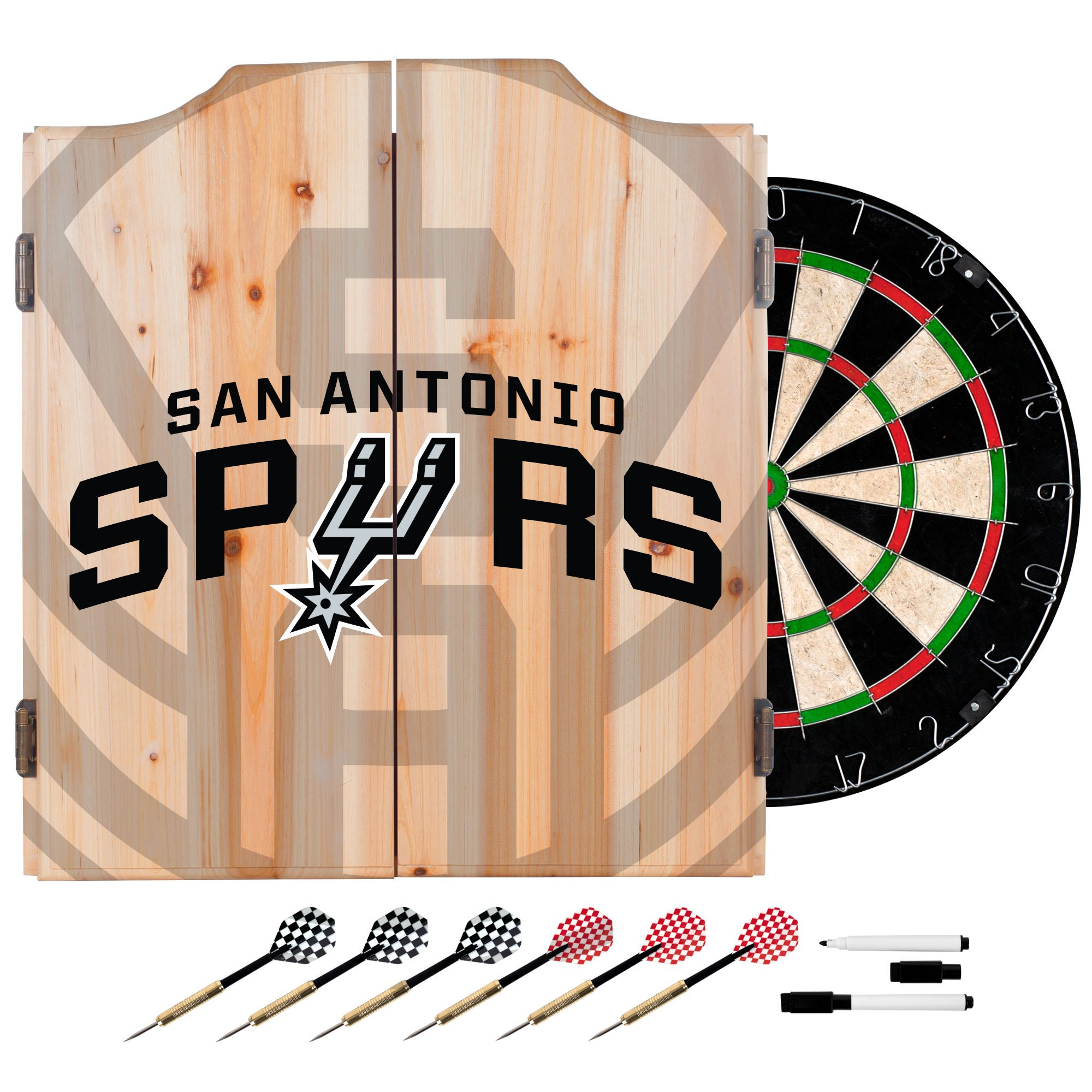 Trademark Gameroom NBA7010-SS2 NBA Dart Cabinet Set with Darts & Board - Fade - San Antonio Spurs by Trademark Global