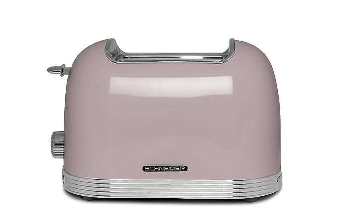 Schneider Consumer - Tostador 2 Rebanadas (Vintage) SCTO2PK - 3 Funciones, Función descongelar, sistema de elevación, Bandeja Recogemigas, Rosa