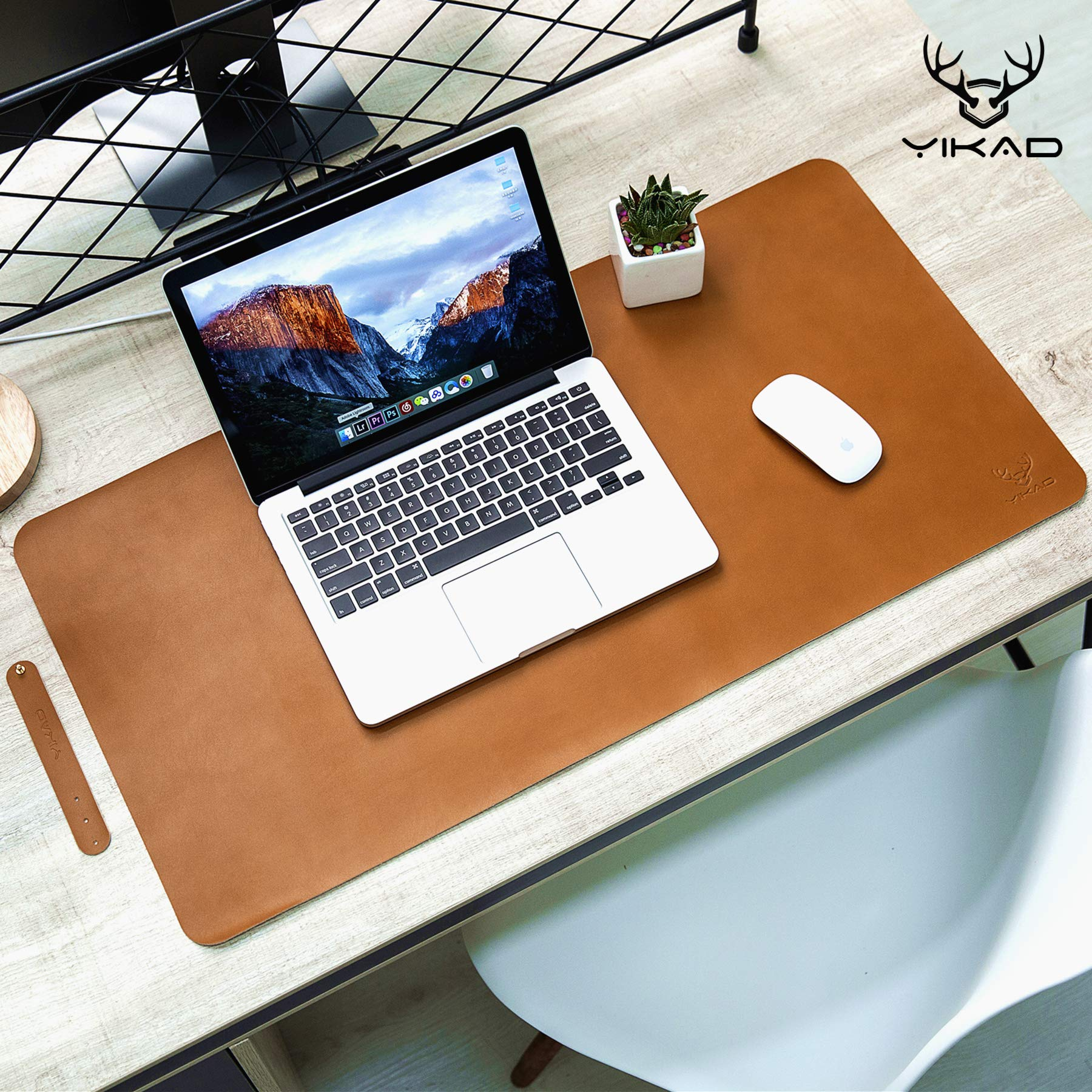 Yikda Extended Leather Gaming Mouse Pad/Mat, Large Office Writing Desk Computer Leather Mat Mousepad,Waterproof,Ultra Thin 1.2mm - 31.5''x15.7'' (Brown) by Yikda