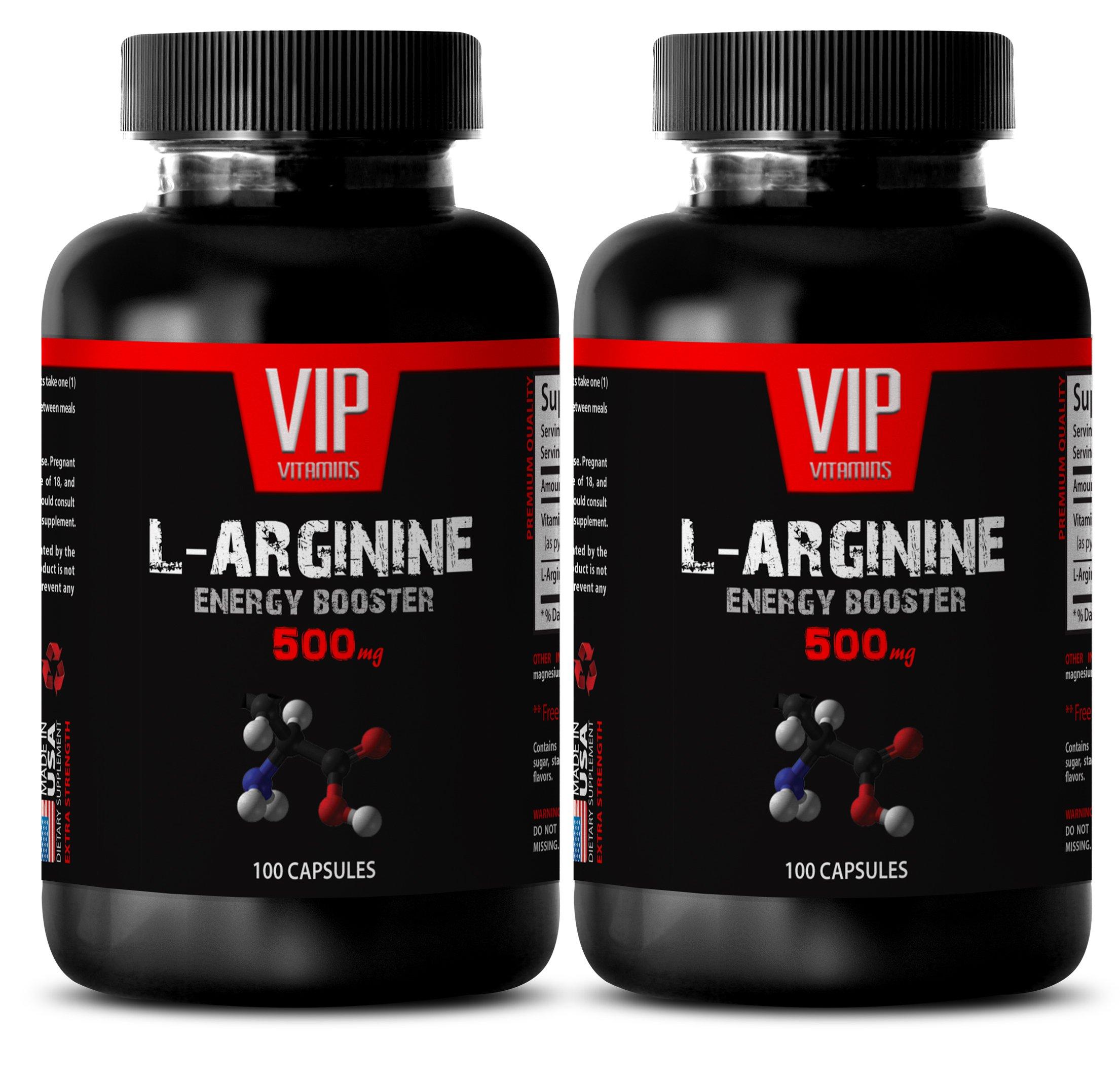 Pre workout for men - L-ARGININE 500 Mg - L-arginine plus supplement - 2 Bottles 200 Capsules