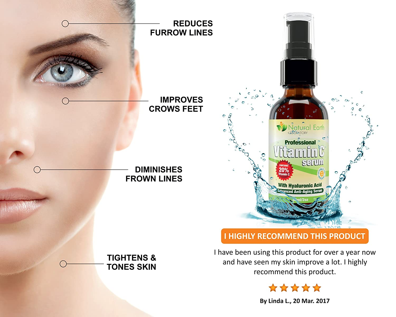 Vitamin C Serum for Face and Skin with Hyaluronic Acid, Anti-Ageing ...