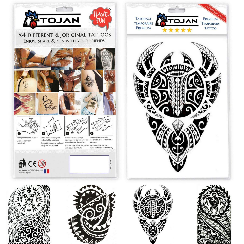 Tatuaggi Tojan: set di 4 diversi tatuaggi temporanei. Dimensione drago 21x15 cm / Stile giapponese cinese / inchiostro nero o colorato da applicare su diverse parti del corpo / effetto realistico e resistente all'acqua.