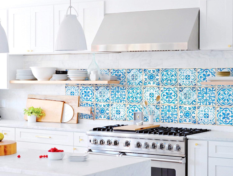 SERENITA Heat Resistant Waterproof Kitchen Sheet Blacksplash DIY Tile Stickers, Decorative Removable Peel Off Decals, for Kitchen Bathroom Livingroom, Flame-Resistant, 16.6x27.5 inch (Larimar)