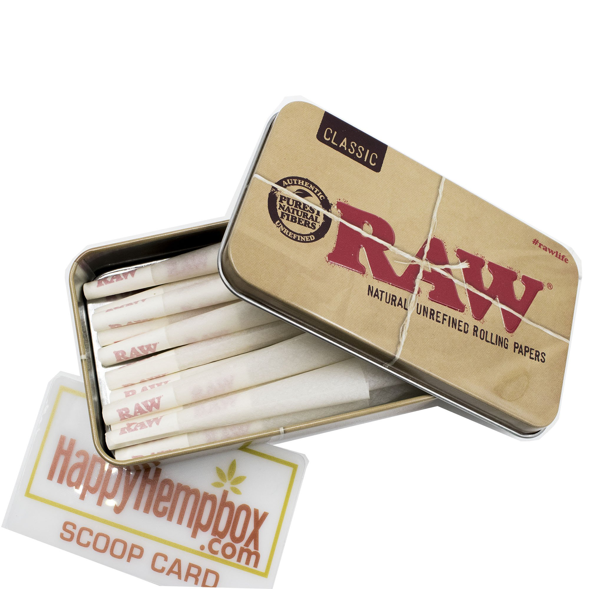 25 Raw 1 1/4 Size Organic Cones With Raw Tin Carrying Case with HHB Scoop Card by RAW