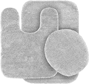 Mk Home Collection 3 Piece Bathroom Rug Set Bath Rug, Contour Mat & Lid Cover Non-Slip with Rubber Backing Solid Silver New