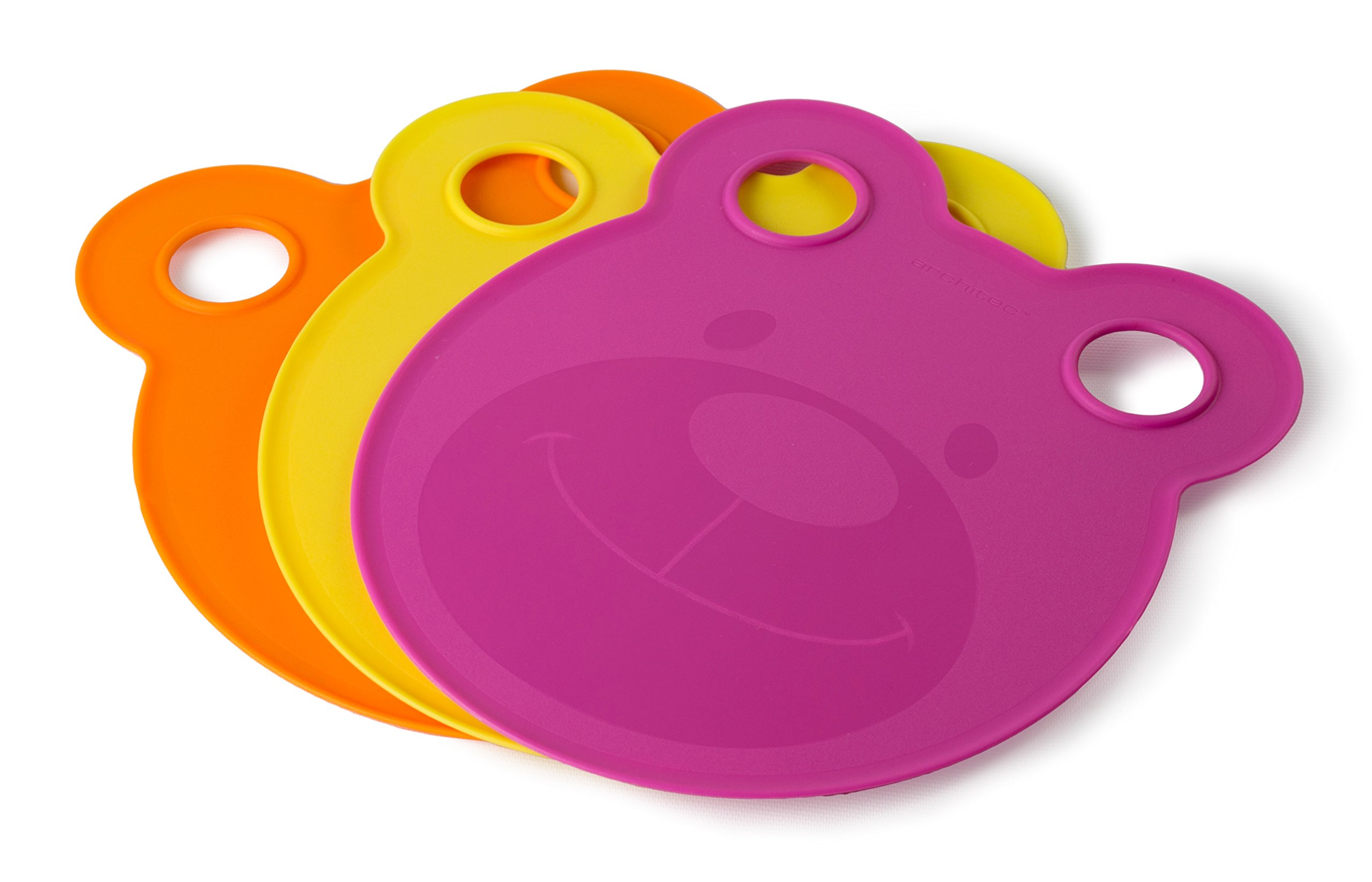 Architec Kid's Cut & Serve Cutting Board Plates, Pink/Yellow/Orange, BPA-free and Dishwasher Safe Plastic, Made in the USA