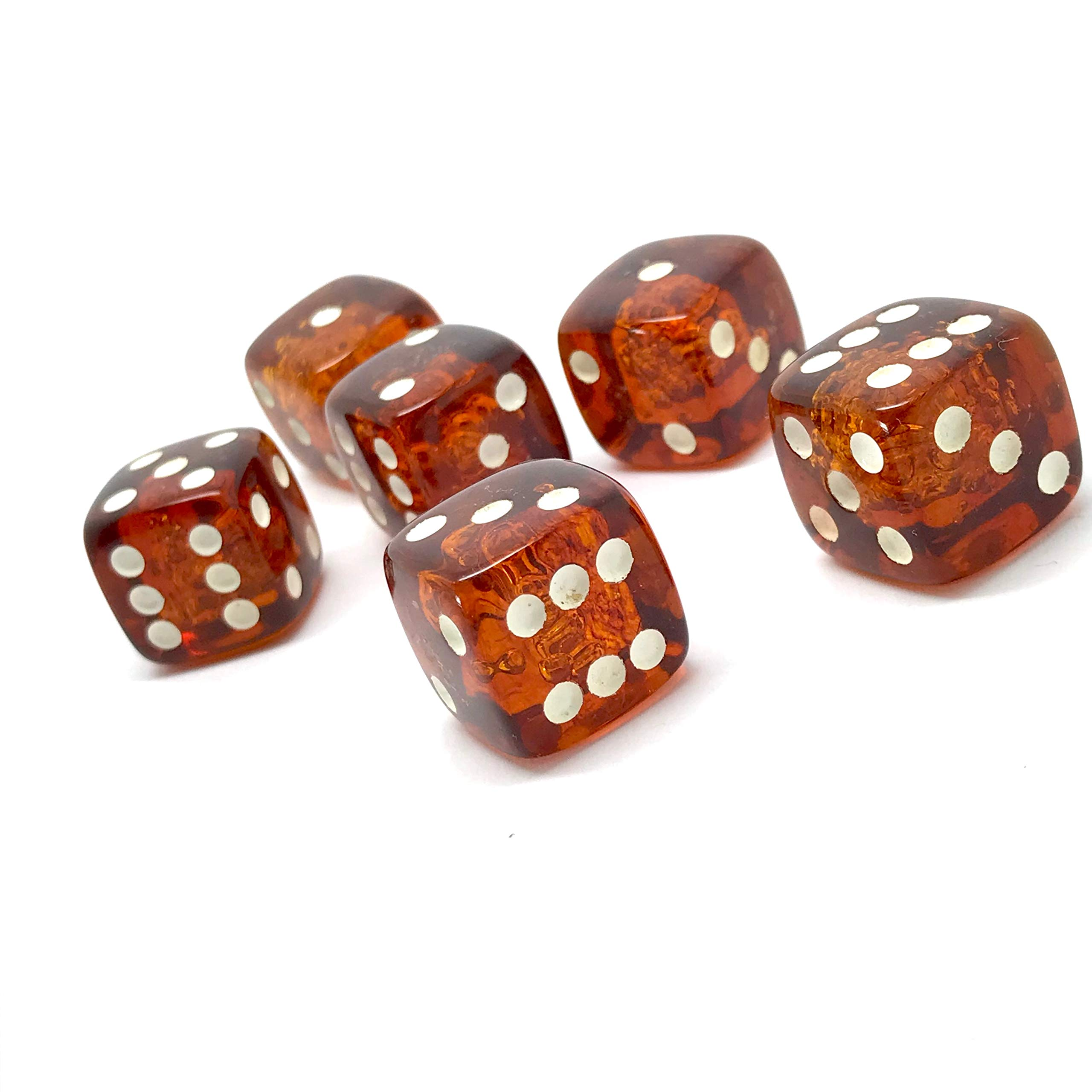 x6 Proper size Amber Dice set for Board games and Gambling by Generic (Image #3)