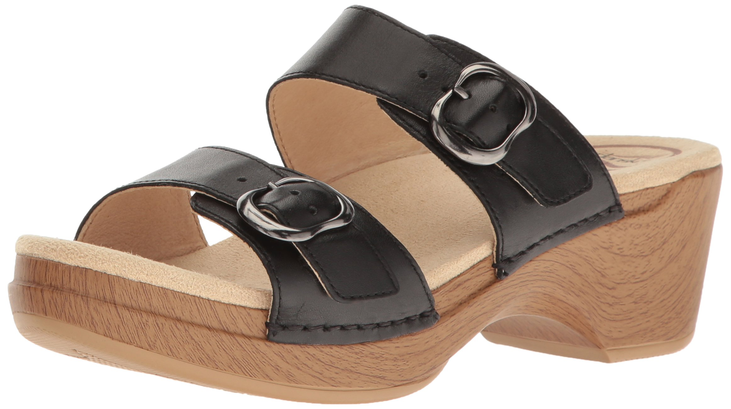 Dansko Women's Sophie Flat Sandal, Black Full Grain, 38 EU/7.5-8 M US
