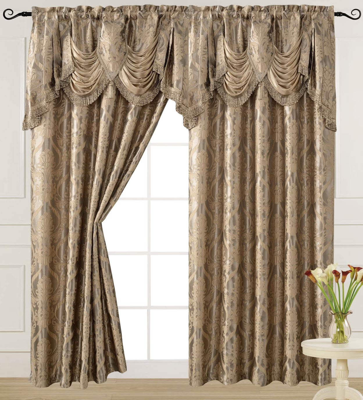 v Luxury Jacquard Curtain Panel with Attached Waterfall Valance, 54 by 84-Inch Ashley Light Taupe by v