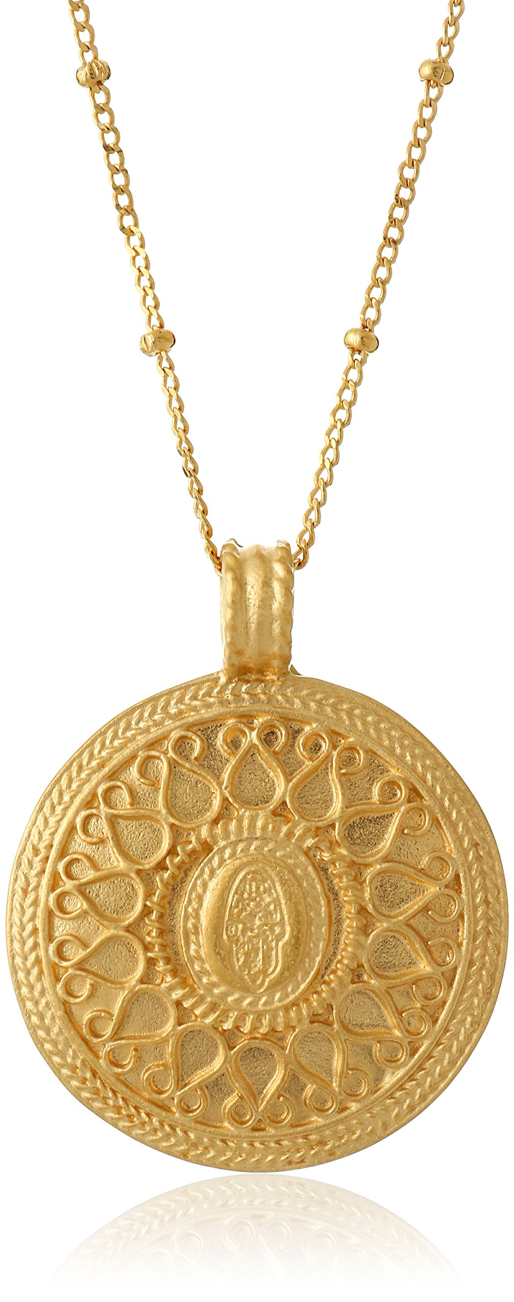 Satya Jewelry Gold Hamsa Mandala Pendant Necklace (24-Inch)