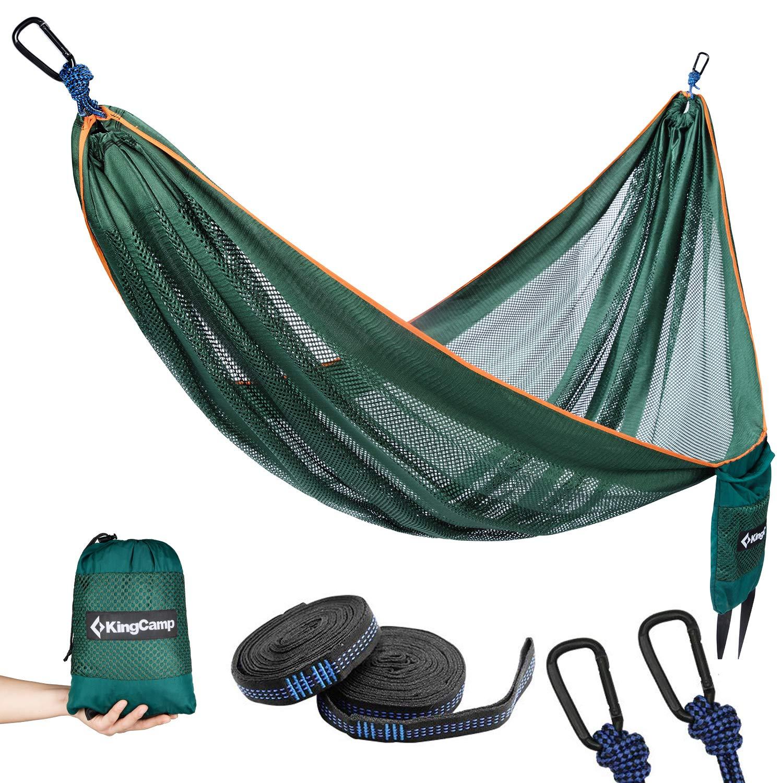 2 Correas Ajustables para /árbol Incluidas KingCamp Hamaca de Camping Fresca Transpirable Ligera
