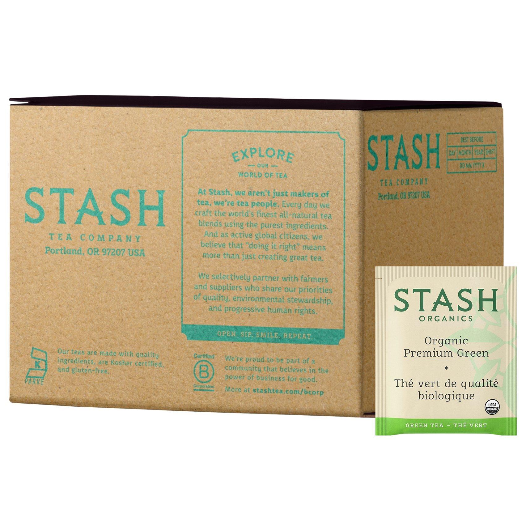 Stash Tea, Organic Premium Green Tea, 100 Count Box of Tea Bags Individually Wrapped in Foil, Medium Caffeine Tea, Japanese Style Green Tea, Hot or Iced