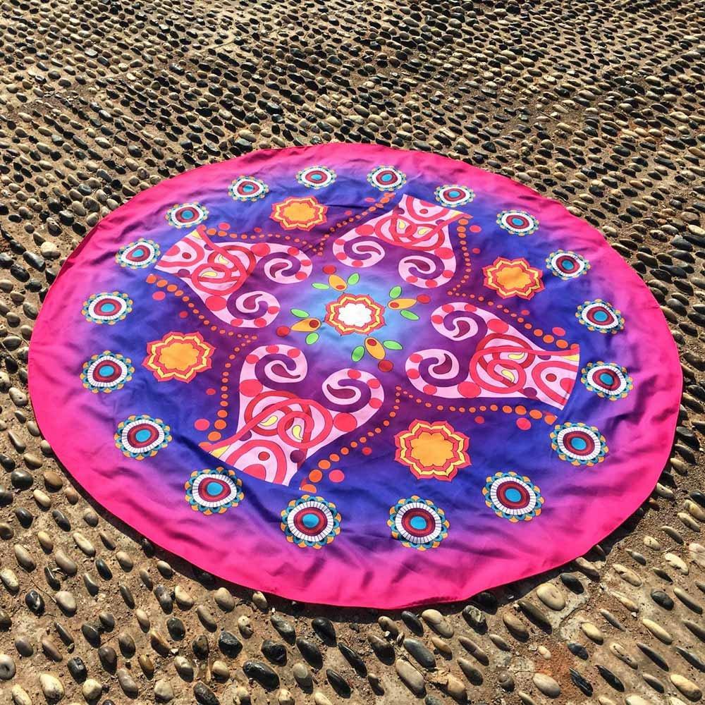 Kinlene Impresión Redonda Hippie Tapicería Playa Picnic Throw Yoga Mat Toalla Manta(Azul): Amazon.es: Ropa y accesorios