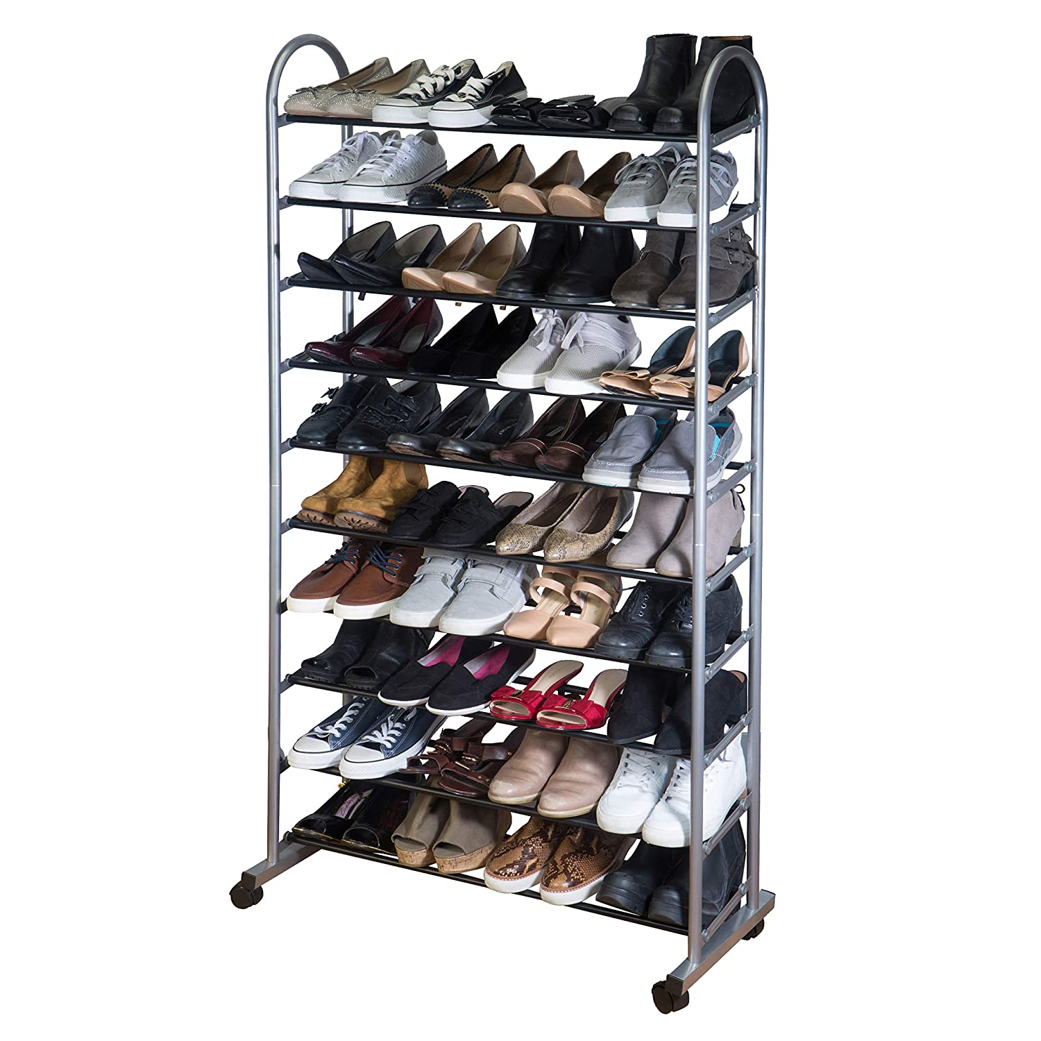 Simplify 10 Tier Mobile Rack on Wheels, 40 Pairs, Good for Sneakers, Heels, Boots, Shoes, Grey