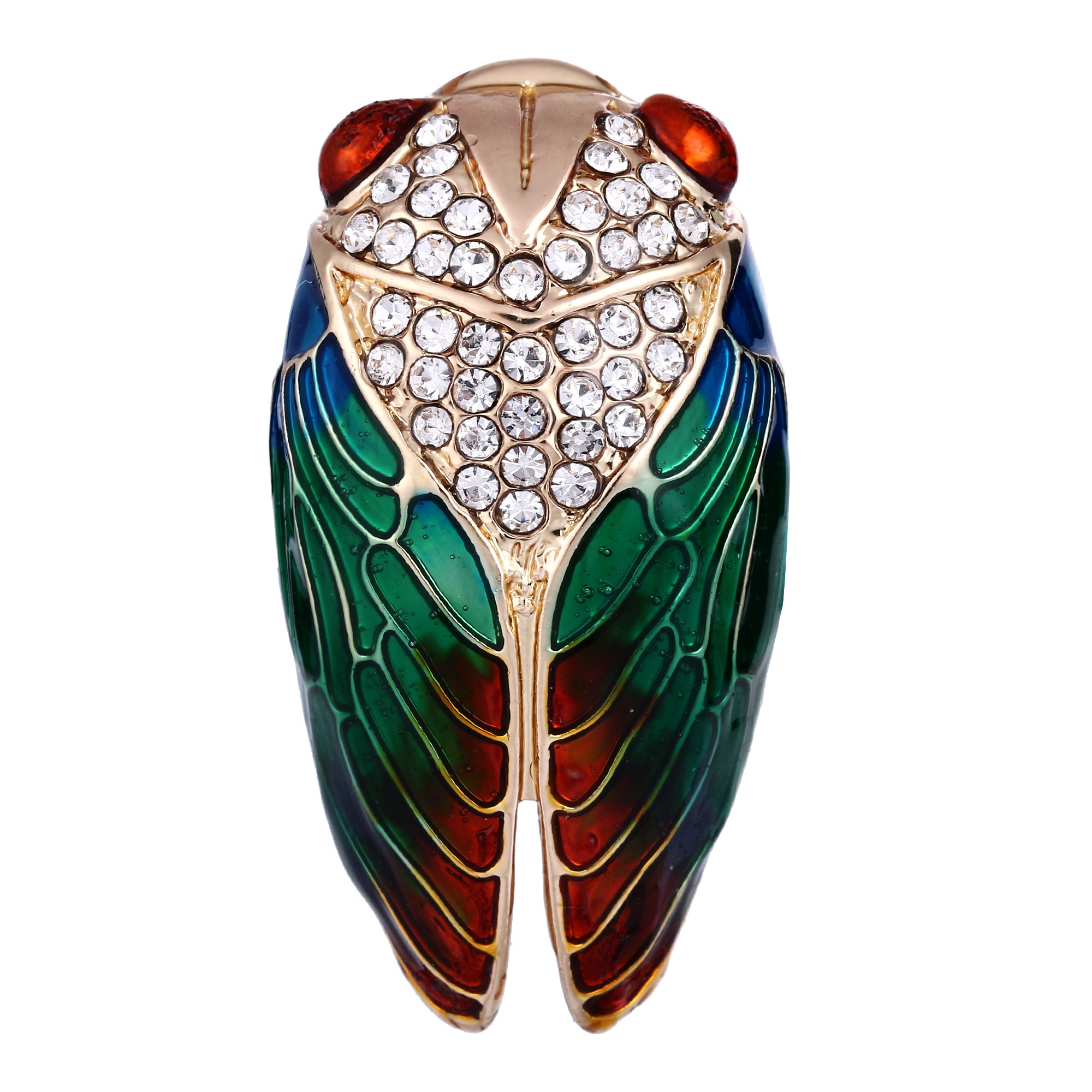 BriLove Women's Crystal Lovely Cute Cicada Insect Enamel Brooch Pin Green Gold-Tone