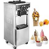 VEVOR Ice Cream Machine Commercial 2200W Soft Serve Ice Cream Machine 20-28L/5.28-7.4Gallon Per Hour LCD Display Ice Cream Maker Machine with 3 Flavor 110V