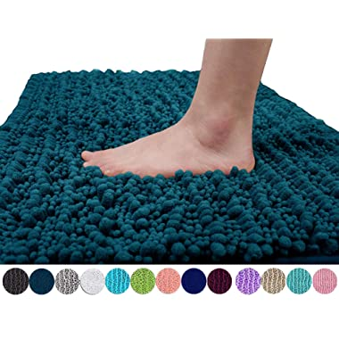 Yimobra Original Luxury Chenille Bath Mat, Soft Shaggy and Comfortable, Large Size, Super Absorbent and Thick, Non-Slip, Machine Washable, Perfect for Bathroom (31.5 X 19.8 Inches, Peacock Blue)