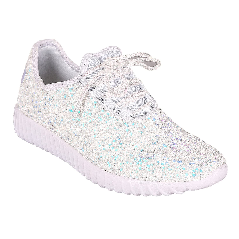 Women's Glitter Lace up Fashion Sneakers Casual Dressy Versatile Fashion Light Weight Sparkle Slip On Wedge Platform Sneaker B07CG7SMTV 7.5 M US|White