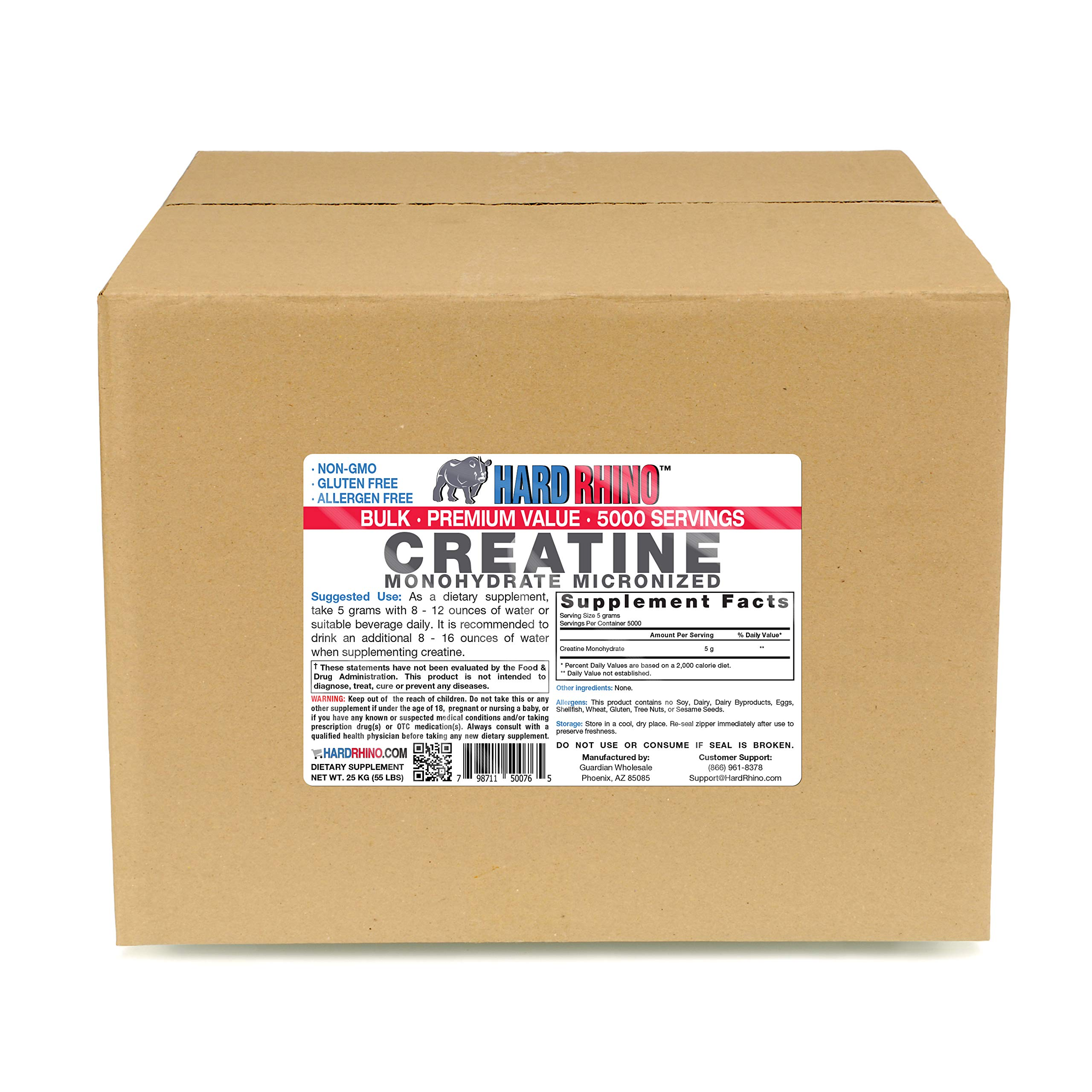 Hard Rhino Creatine Monohydrate Micronized Powder, 25 Kilograms (55 Lbs), Unflavored, Lab-Tested