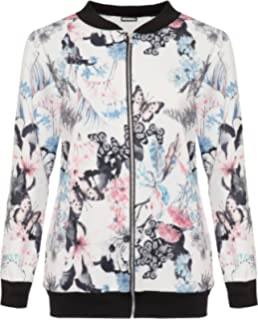 Ladies Womens Classic Floral Bomber Jacket  Butterfly Print Jacket  zipper