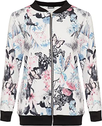 975605a84da8 WearAll Women's Plus Butterfly Bomber Jacket Ladies Print Long Sleeve Zip  Up Stretch 14-28: Amazon.co.uk: Clothing