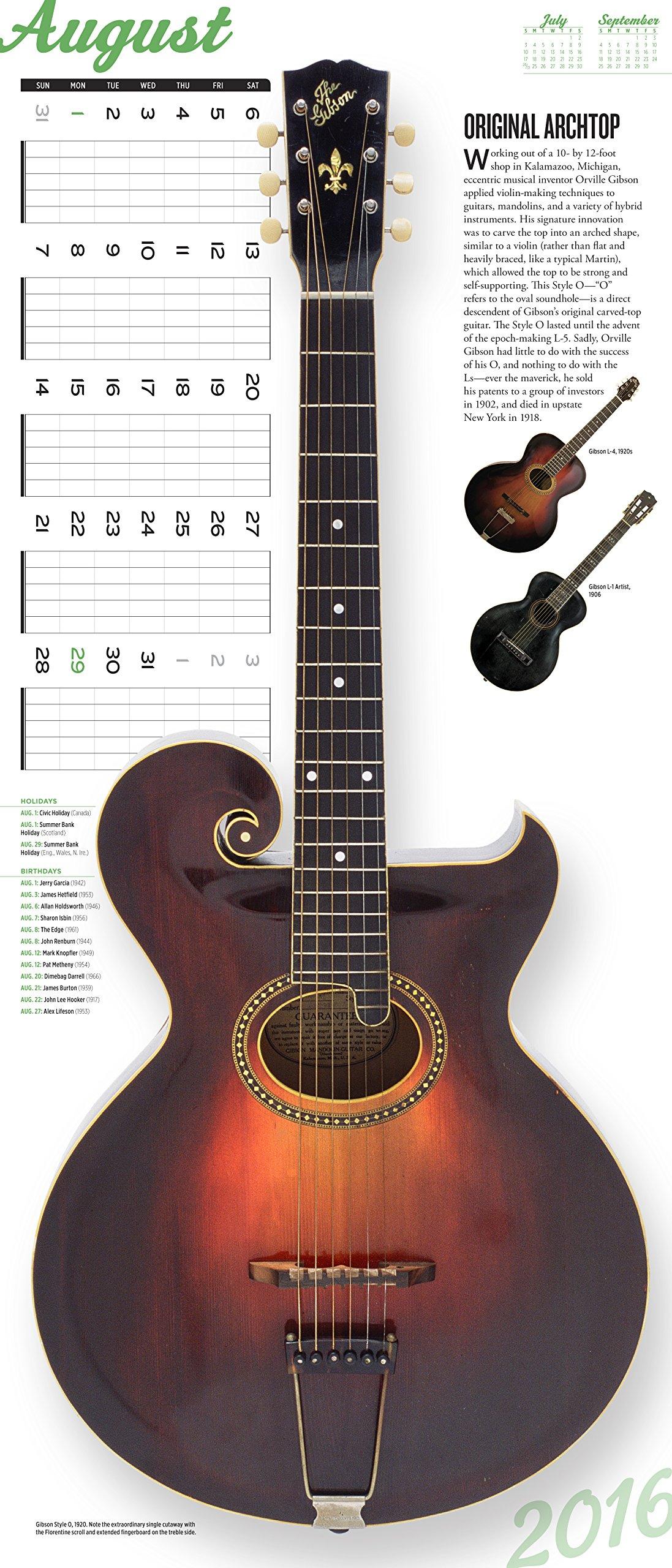 guitars wall calendar 2016 david schiller