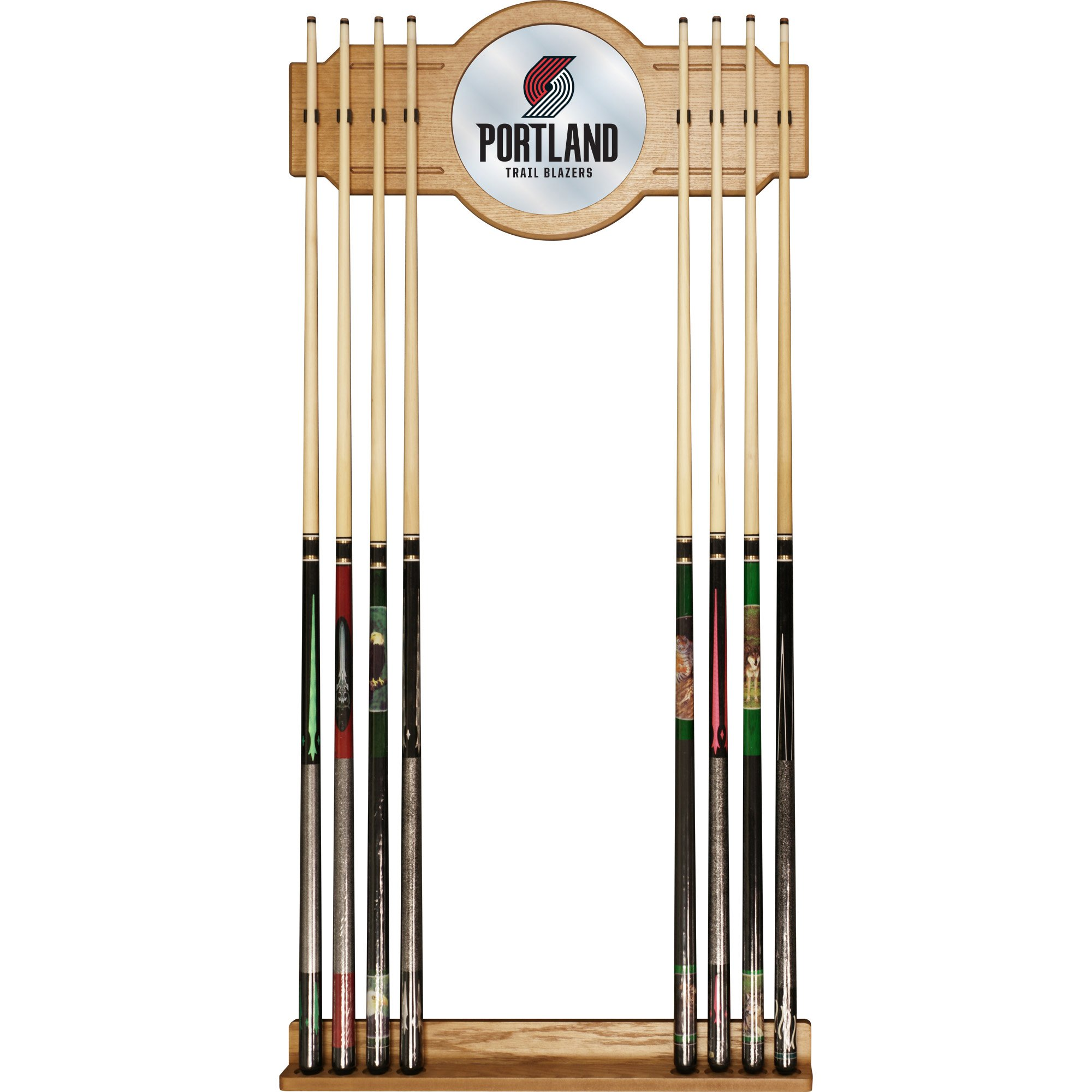 NBA Portland Trail Blazers Billiard Cue Rack with Mirror by Trademark Gameroom