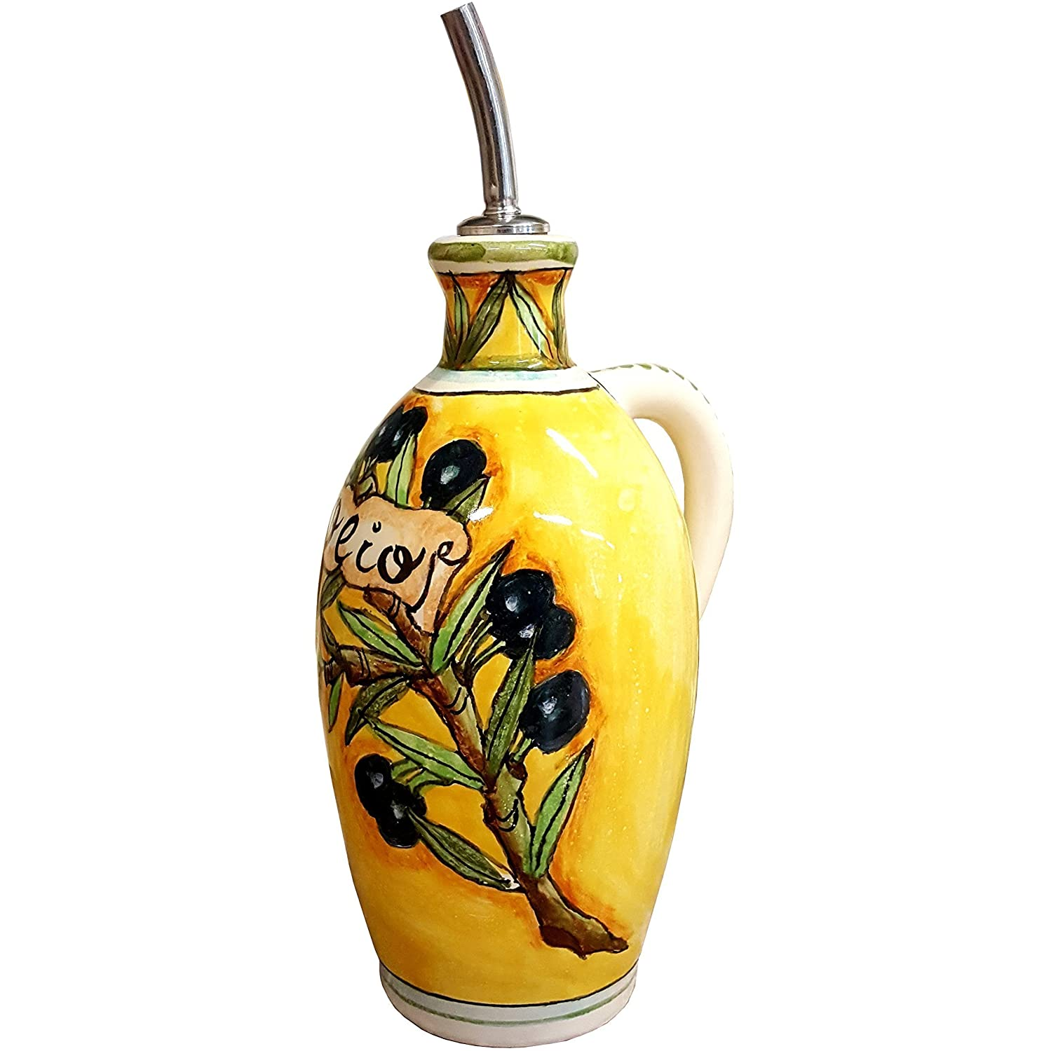 Amazon made in italy handmade products ceramiche darte parrini italian ceramic art pottery oil cruet bottle hand painted decorated dailygadgetfo Images