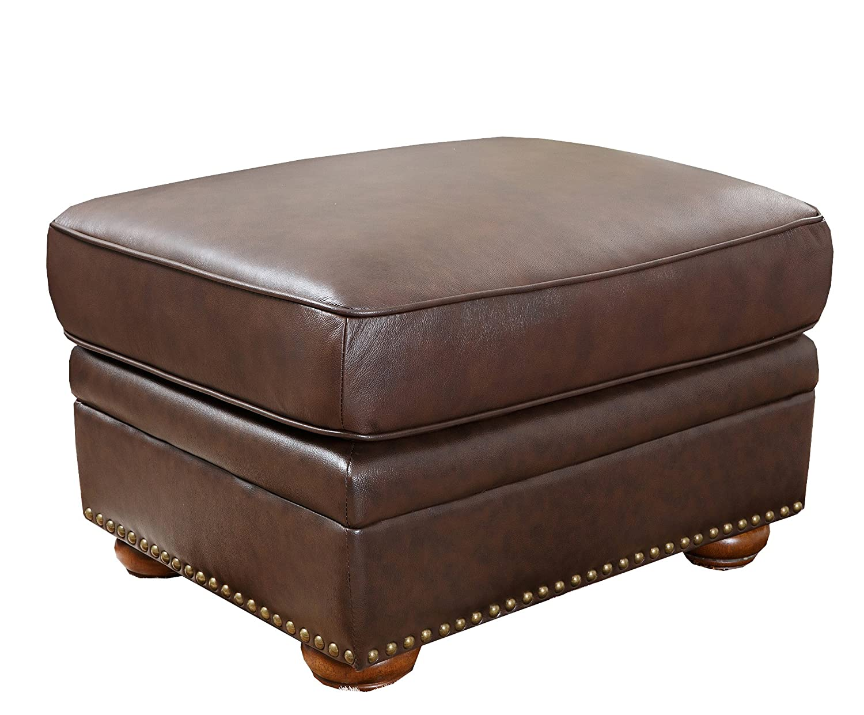 Abbyson Palaza Italian Leather Ottoman, Brown